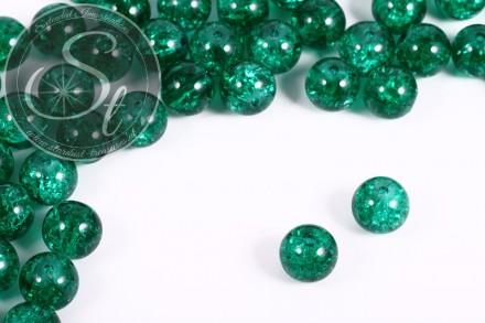 10 Stk. dunkelgrüne Crackle Glas Perlen 12mm-31