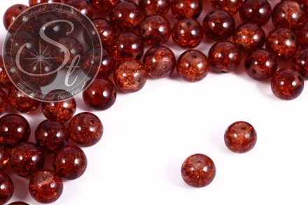 10 Stk. braune Crackle Glas Perlen 12mm-31