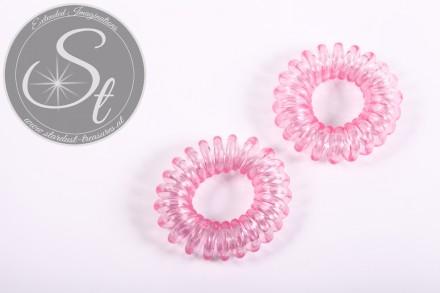 "2 Stk. rosa elastische ""Telefonkabel"" Haarbänder 35-40mm-31"