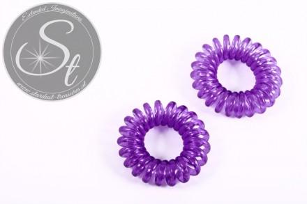 "2 Stk. lila elastische ""Telefonkabel"" Haarbänder 35-40mm-31"