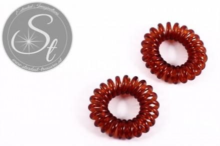 """2 Stk. braune elastische """"Telefonkabel"""" Haarbänder 35-40mm-31"""