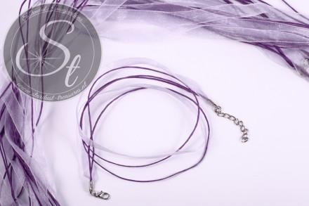 5 Stk. lila Organza/Wachsband Halsketten 43cm-31
