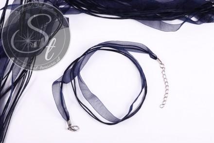 5 Stk. dunkelblaue Organza/Wachsband Halsketten 43cm-31