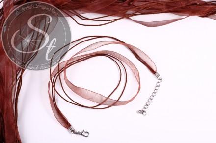5 Stk. braune Organza/Wachsband Halsketten 43cm-31