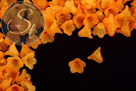 20 Stk. orange Acryl-Blüten frosted 14mm-31