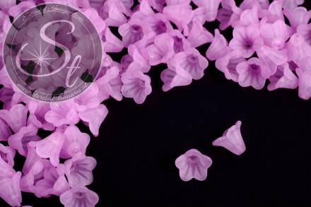 20 Stk. rosalila Acryl-Blüten frosted 14mm-31