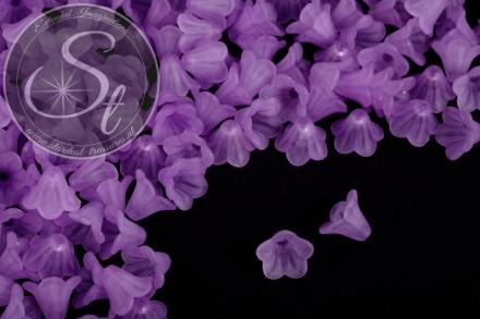 20 Stk. lila Acryl-Blüten frosted 15mm-31