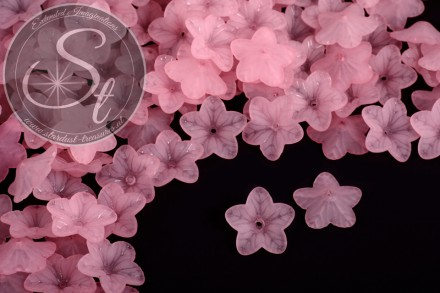 20 Stk. rosa Acryl-Blüten frosted 18mm-31
