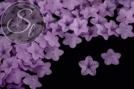 20 Stk. lila Acryl-Blüten frosted 18mm-31