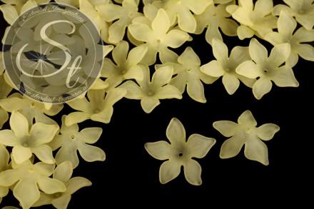 10 Stk. gelbe Acryl-Blüten frosted 29mm-31