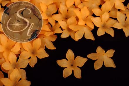 10 Stk. orange Acryl-Blüten frosted 29mm-31