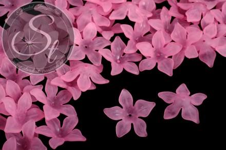 10 Stk. rosa Acryl-Blüten frosted 29mm-31