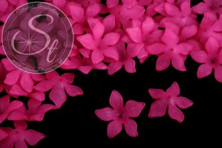 10 Stk. pinke Acryl-Blüten frosted 29mm-31