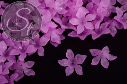 10 Stk. lila Acryl-Blüten frosted 29mm-31