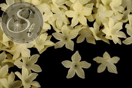 10 Stk. gelbe Acryl-Blüten frosted 27mm-31
