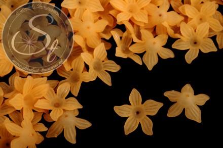10 Stk. orange Acryl-Blüten frosted 27mm-31