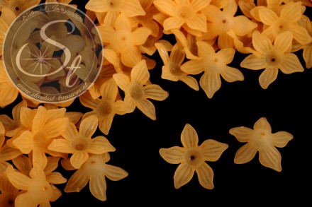 10 Stk. orange Lucite-Blüten frosted 27mm-31