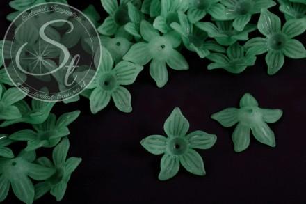 10 Stk. dunkelgrüne Acryl-Blüten frosted 27mm-31
