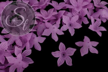 10 Stk. lila Acryl-Blüten frosted 27mm-31