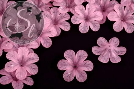 5 Stk. rosa Acryl-Blüten frosted 30mm-31