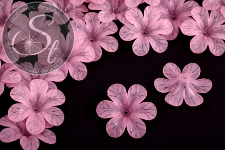 5 Stk. rosa Lucite-Blüten frosted 30mm-31
