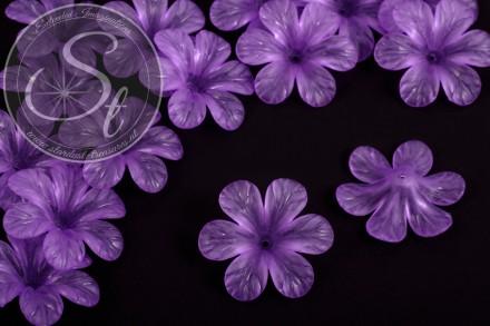 5 Stk. lila Acryl-Blüten frosted 30mm-31