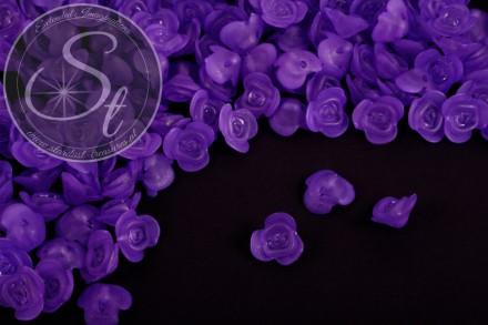 20 Stk. lila Acryl-Blüten frosted 14mm-31