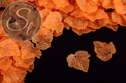 20 Stk. orange Acryl-Blätter frosted 24mm-31