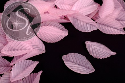 10 Stk. rosa Lucite-Blätter frosted 35mm-31