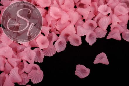 20 Stk. rosa Acryl-Blüten frosted 12mm-31