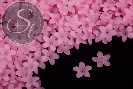 20 Stk. rosa Acryl-Blüten frosted 17mm-31