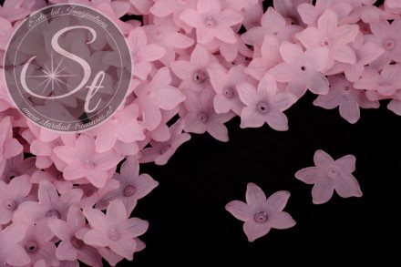 20 Stk. rosa Acryl-Blüten frosted 20,5mm-31