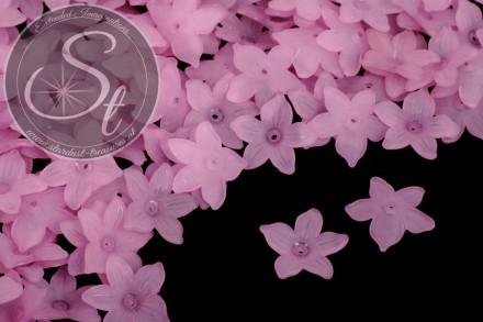20 Stk. rosalila Acryl-Blüten frosted 20,5mm-31