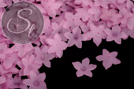 20 Stk. rosalila Lucite-Blüten frosted 20,5mm-31