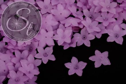 20 Stk. lila Acryl-Blüten frosted 20,5mm-31