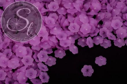 20 Stk. lila Acryl-Blüten frosted 12mm-31