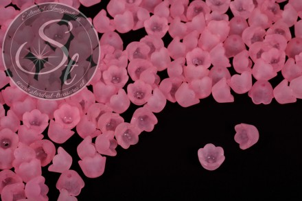 20 Stk. hellrosa Acryl-Blüten frosted 10mm-31