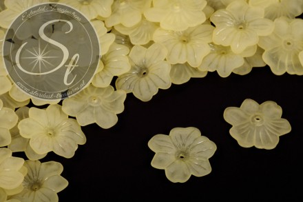 10 Stk. gelbe Acryl-Blüten frosted 30mm-31