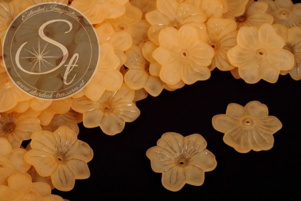 10 Stk. orange Lucite-Blüten frosted 30mm-31