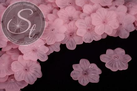 10 Stk. rosa Acryl-Blüten frosted 30mm-31