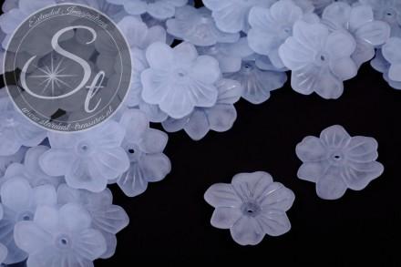10 Stk. hellblaue Acryl-Blüten frosted 30mm-31