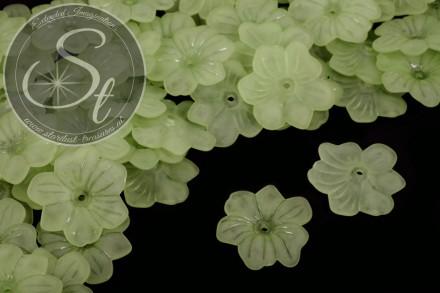 10 Stk. grüne Acryl-Blüten frosted 30mm-31