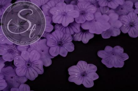 10 Stk. lila Acryl-Blüten frosted 30mm-31