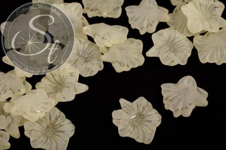 10 Stk. gelbe Acryl-Blüten frosted 32mm-31
