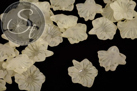 10 Stk. gelbe Lucite-Blüten frosted 32mm-31