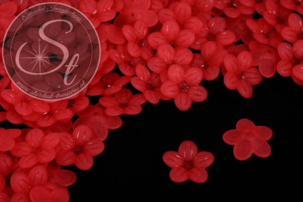 20 Stk. rote Acryl-Blüten frosted 20mm-31