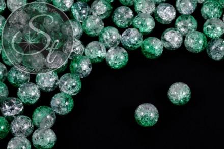 10 Stk. transparent/grüne Crackle Glas Perlen 12mm-31