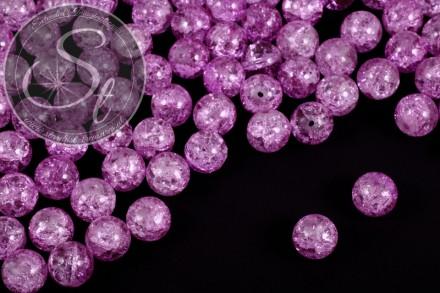 10 Stk. rosalila Crackle Glas Perlen 12mm-31