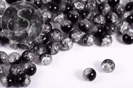 10 Stk. transparent/schwarz Crackle Glas Perlen 12mm-31
