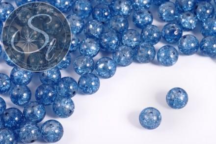 10 Stk. blaue Crackle Glas Perlen 12mm-31